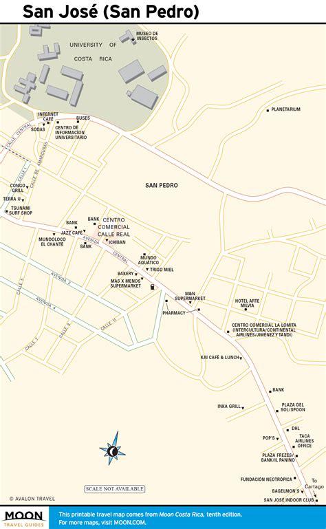 san jose printable map printable travel maps of costa rica moon travel guides