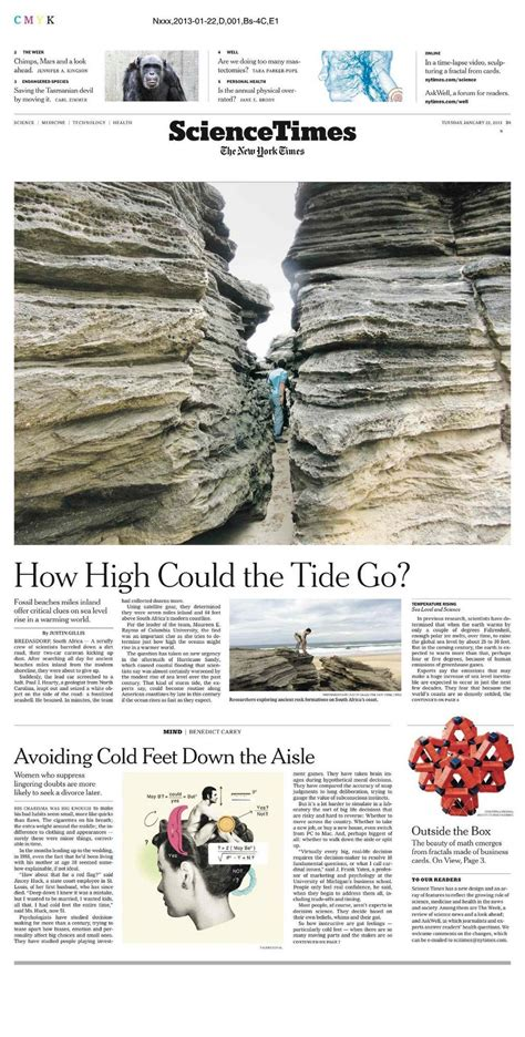 new york times science section new york times hits stands with redesigned feature section