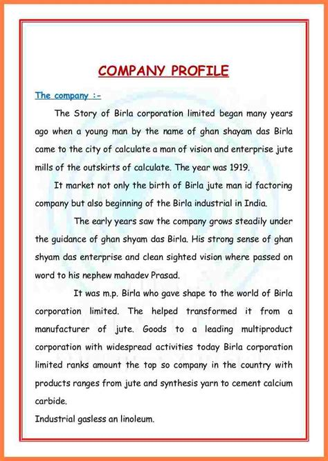 8 sle format of company profile in word company