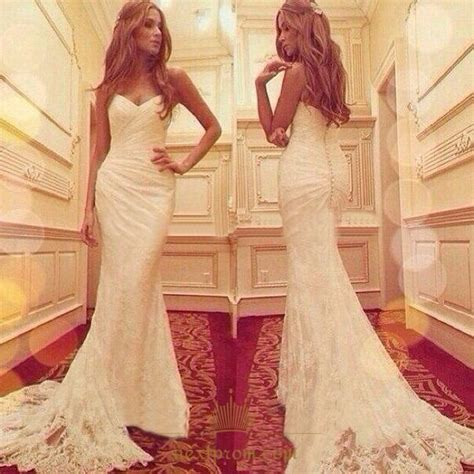 Mermaid Floor L by Strapless Floor Length Ruched Mermaid White Lace