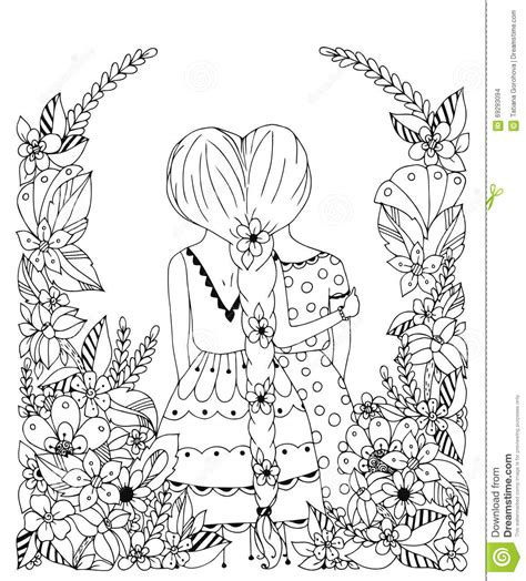 doodle with friends vector illustration zentangl friend in a flower frame