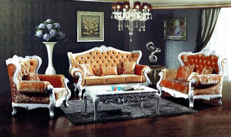 Wooden Sofa Sets For Living Room Style Orange Color Fabric Sofa Sets Living Room Furniture Antique Style Wooden Sofa From