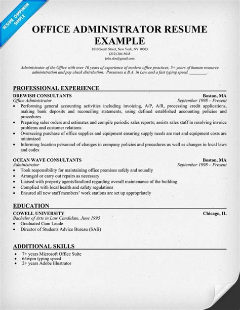 resume administration office administrator free resume work