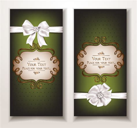 Free Holiday Gift Cards - holiday gift cards with ribbon bow vector 08 vector card vector ribbon free download