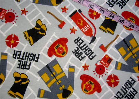 Fireman Quilt Fabric by Fireman Flannel Fabric Fighter Hat Coat Extinguisher