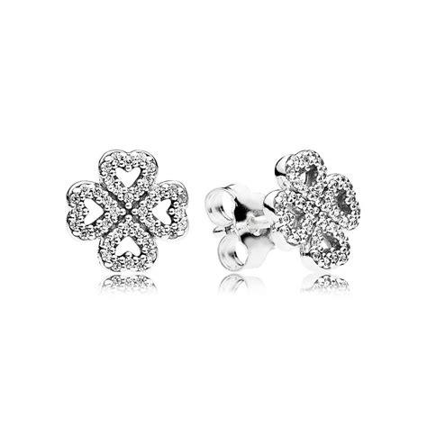 Clover Stud Earrings clover silver stud earrings with clear cubic