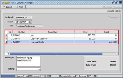 cara membuat jurnal sistem informasi penerimaan pembayaran potong uang muka