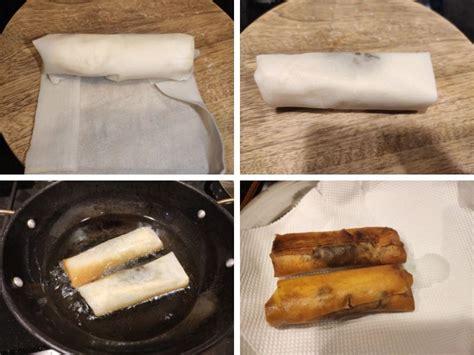 chocolate banana spring rolls  ingredients  minutes