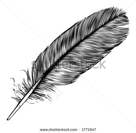 tattoo pen vector b w feather quill pen calligraphy writing art hand