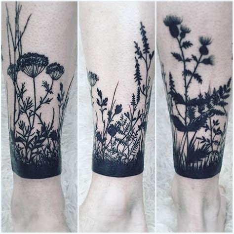 botanical tattoo designs botanical extended cuff on leg tattoos on