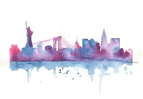 watercolor tattoo in nyc original watercolor painting new york city skyline