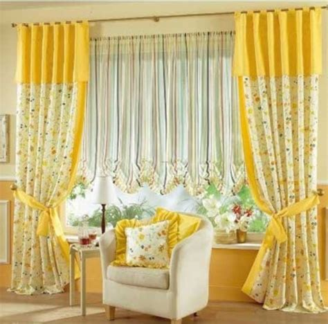 Curtains For Yellow Living Room Decor Bright Yellow And Flower Curtains Interior Design Center Inspiration