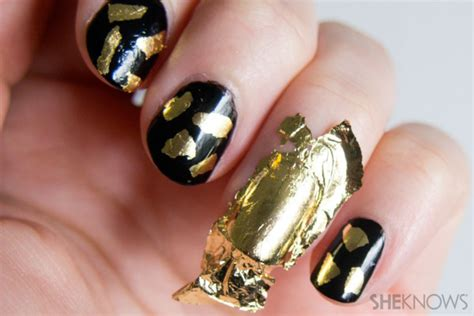 nail art gold leaf tutorial gilded gold leaf daubed nail art