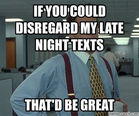 Late Night Meme - if you could disregard my late night texts