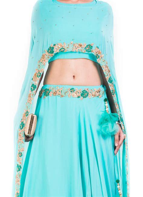 buy sky blue georgette cape skirt set indowestern sets