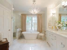 Transitional Crystal Chandeliers Tub Below Chandelier Transitional Bathroom