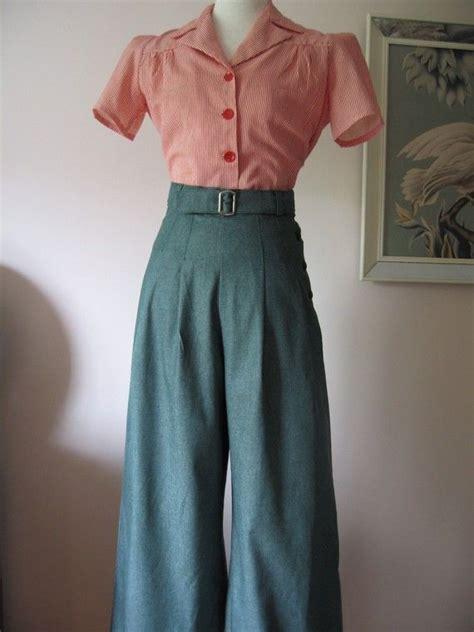 Fashion Dress 340183 3 1930 s 1940 s vintage style green denim wide leg