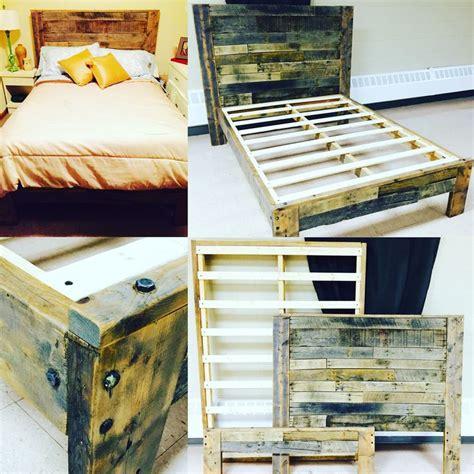 Rustic Platform Bed With Pallet Wood Headboard Footboard Pallet Bed Frame For Sale