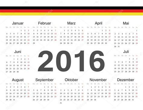 German Kalender 2016 Vektor Deutscher Kreis Kalender 2016 Stockvektor