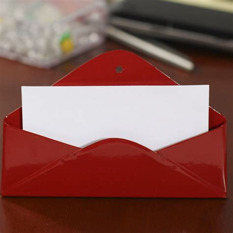 Red Envelope Gift Card - red metal mini envelope gift or business card holder table and shelf sitters home