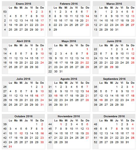 Calendario 2016 Con Semanas Calendario Escolar 2016 Para Chile