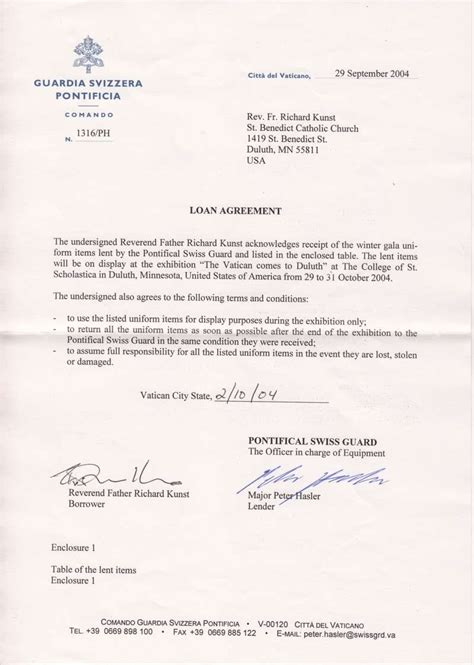 Letter Of Agreement On Loan Two Letters Of Agreement Between Richard Kunst And Commandant Elmar Mader Of The Swiss