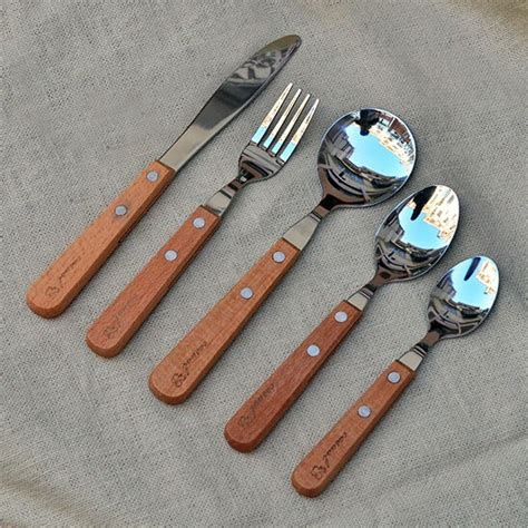wooden handled cutlery high quality five stainless steel cutlery wooden