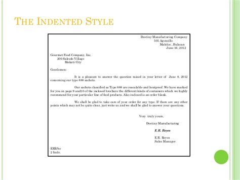 Indented Style Business Letter Definition Muhammad Afif Ibrahim