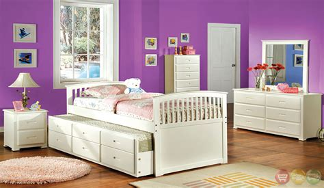 mission white platform bedroom set with trundle and