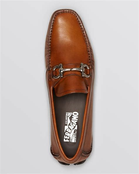 brown driving loafers ferragamo parigi leather driving loafers in brown for