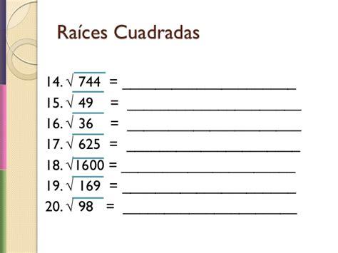 resolver raices cuadradas raices cuadradas y cubicas