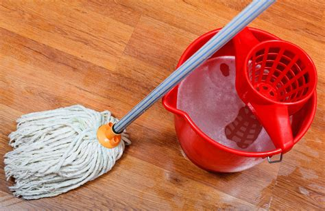 Create Your Own Personal Planner cleaning of wet floors by mop and red bucket with washing