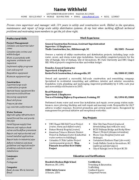 electrical foreman resume sles new electrical foreman