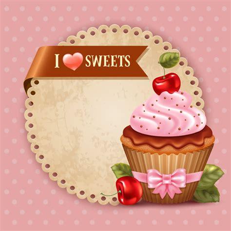 Cute cupcakes vector invitation cards 01   Vector Card