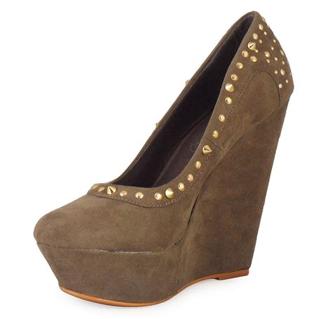 Wedges Cassico Ca 87 new womens black stud faux suede high platform wedge court shoes size uk ebay