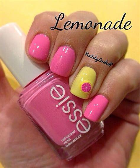 lemon nail art tutorial lemon pink yellow nail art nails pinterest