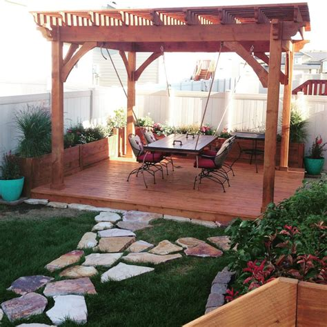 awe douglas fir pergola planters deck suspension table