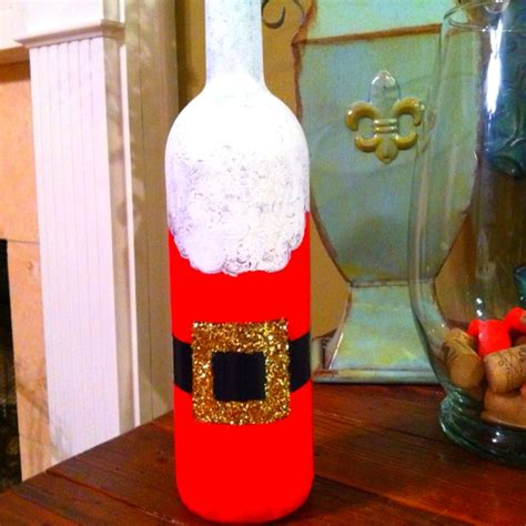hand painted santa wine bottle  images hand painted wine bottles wine bottle art