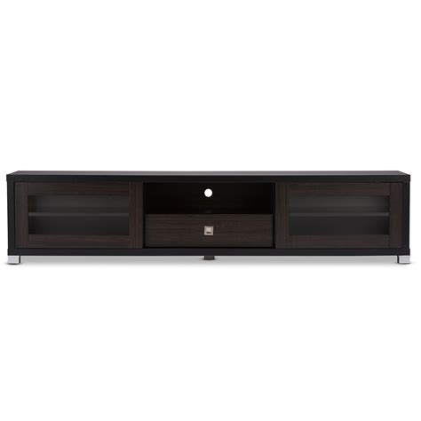 Baxton Studio Beasley 70 Inch Dark Brown Tv Cabinet With 2 Tv Stand With Cabinet Doors