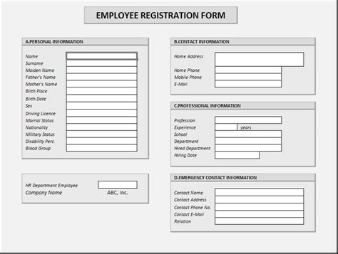 employee registration form spreadsheetzone free excel spread sheets
