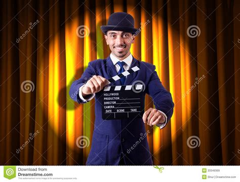 curtain man man with movie clapper royalty free stock images image