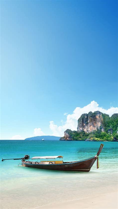 wallpaper iphone 6 thailand 海と木の船 iphone6 plus 壁紙 wallpaperbox
