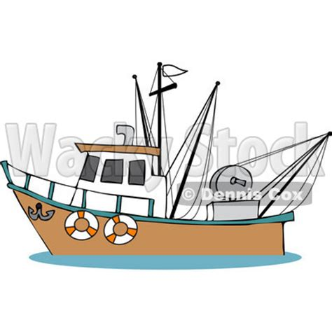 cartoon red boat fisherman in boat cartoon clipart