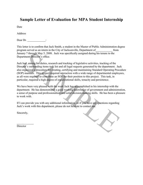 Evaluation Letter For Manager sle internship evaluation letter term paper academic service tdhomeworknmwh allthehits us