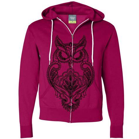 Hoodie Zipper Sweater Murah Berkualitas Owl mystical owl stencil black zip up hoodie ebay