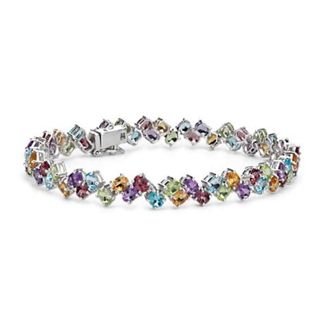 multicolor gemstone bracelet in sterling silver 5mm