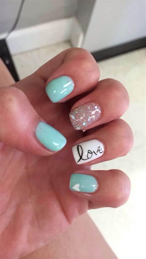 blue summer gel nails love nails pinterest nail