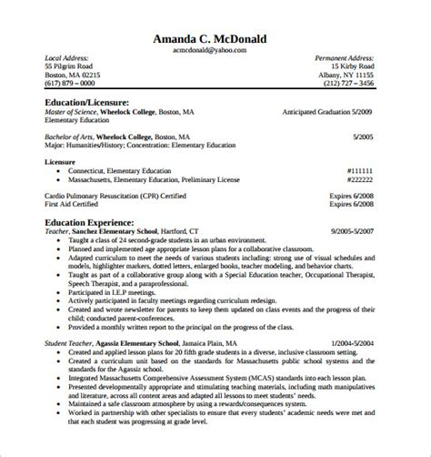 Elementary Resume by Sle Elementary Resume 12 Documents In Pdf Word