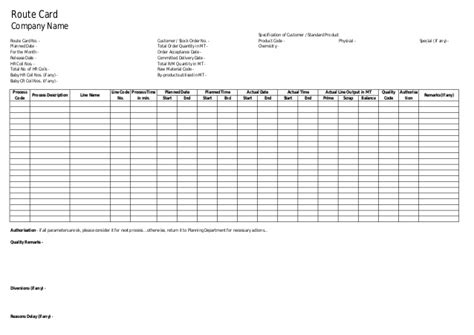route card template excel rout card format