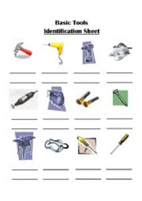 Tool Identification Worksheet by Worksheets Basic Tools Identification Sheet